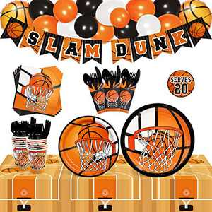 Basketball Party Tableware Supplies Set Serves 20 Guests-Slam Dunk Banner,Plates, Cups, Napkins,Table Cover,Balloons,Black Cutlery Kits-Kids Teenagers Adult March Madness Disposable Table Buffet Decoration Ideas