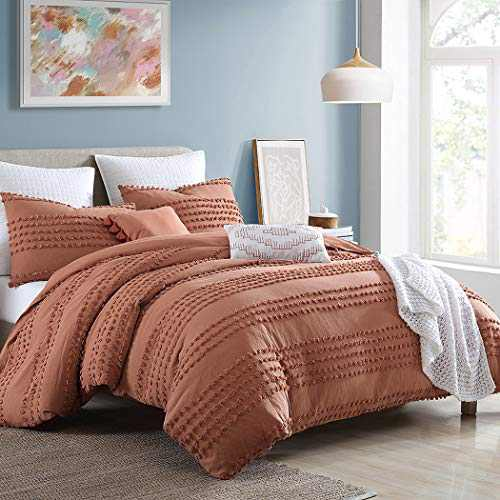 """Swift Home Marilla Prewashed Yarn-Dyed Cotton Dobby Clip Dot 5-Piece Comforter Set, Oeko-Tex Certified, Ultra Soft and Breathable, All Season – Brick, Full/Queen (88"""" x 92"""")"""