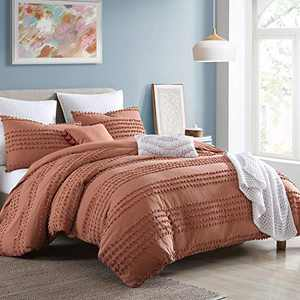 "Swift Home Marilla Prewashed Yarn-Dyed Cotton Dobby Clip Dot 5-Piece Comforter Set, Oeko-Tex Certified, Ultra Soft and Breathable, All Season – Brick, Full/Queen (88"" x 92"")"