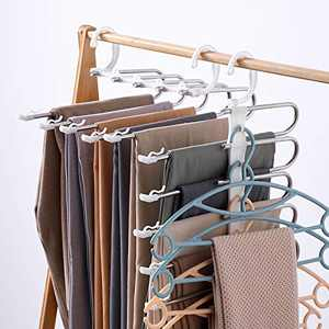 Pants Hangers Space Saving, DUSASA 2 Pack 9 in 1 Multifunctional Pants Rack with Non-Slip Clip, Multilayer Trousers Hanger Stainless Steel Pant Rack Closet Space Saver
