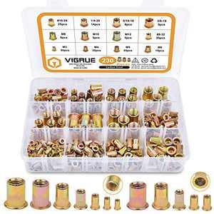 "VIGRUE 230PCS SAE & Metric Rivet Nuts Carbon Steel UNC Nutserts Rivnut Assortment Kit, Zinc Plated, Flat Head Insert Nut Assort #8-32#10-24 1/4""-20 3/8""-16 5/16""-18 and M3 M4 M5 M6 M8 M10 M12"