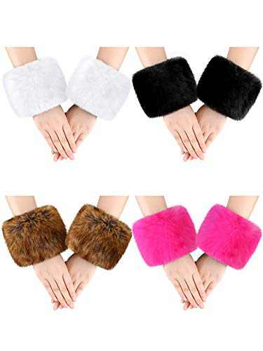 4 Pairs Women Wrist Warmers Faux Fur Arm Cuffs Winter Warm Warmers for Costume Gifts (Black, White, Dark Brown, Rose Red)