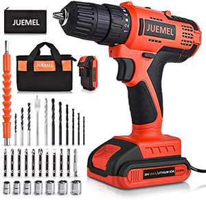 20V Cordless Drill with 2 Batteries & Charger, Power Drill Set for Home with 3/8 inches Keyless Chuck, Infinitely Variable Speed Control, and 30pcs Electric Drill/Driver Bits Accessories