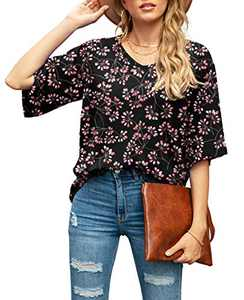 SUEANI Women's Casual V Neck Bell Sleeve Shirts Tops Loose Blouses(X-Large, FP Gypsophila Black)