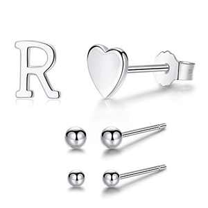 2mm Stud Earrings, 925 Sterling Silver Earrings for Women, 3 Pairs Asymmetrical Earrings of Heart and Alphabet Letter Initial For Teen Girls (R)