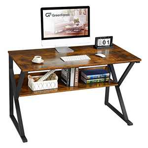 "GreenForest Computer Desk with Bookshelf 47"" Industrial Gaming Writing Desk Space Saving Study Laptop Table Workstation for Home Office, Rustic Brown"