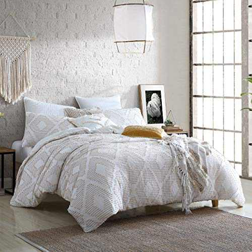 "Puyuma Washed Cotton Clip Jacquard Gauze 5-Piece Comforter Set, Oeko-Tex Certified, Ultra Soft and Breathable, All Season – Cream, King/Cal King (104"" x 92"")"