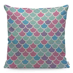 Wozukia Mermaid Scales Throw Pillow Cover Fashion Animal Texture Flowers Pattern Multicolor Square Pillow Case Cushion Cover for Men Women Girls Boys Home Car Decorative Cotton Linen 18x18 Inch