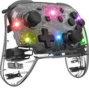 BINBOK Switch Controller, Pro Controller, Adjustable Turbo Vibration Motion Gyro Ergonomic, Transparent, Wireless Remote, Gamepad with Joystick for Game, Console, Accessories