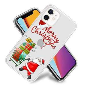 Merry Christmas Santa Claus Phone Case for iPhone 12/iPhone 12 Pro Clear Design Flexible TPU Shockproof Protection Basic Slim Cover