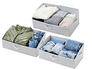 Sami Time Clothes Blanket Storage Bags Organizer with Reinforced Handle-Set of 3,Foldable with Sturdy Zipper, Clear Window (Linen Gray)