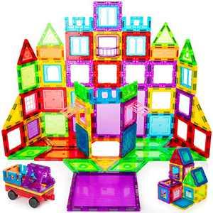 Batlofty 178 pcs Magnet Building Tiles Clear Magnetic 3D Building Blocks Construction Playboards, Creativity Beyond Imagination, Inspirational, Recreational, Educational Conventional
