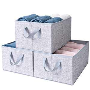 Sami Time Large Storage Bins Baskets Boxes for Shelves(15.8''x11.1''x 7.9''),Fabric Closet Organizer Shelf Cube Box with Handle,Decorative Home Office Storage Baskets,3-Pack