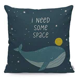 Wozukia Whale Throw Pillow Cover Cute Whale in Space Handwritten Quote - I Need Some Space Dark Blue Square Pillow Case Cushion Cover for Men Women Girls Home Car Decorative Cotton Linen 18x18 Inch