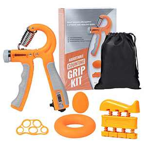 DomKom Grip Strength Trainer Workout Kit (5 Pack), Adjustable Resistance 22-132 Lbs Counting Hand Gripper Strengthener, Finger Exerciser, Finger Stretcher, Grip Ring & Stress Relief Grip Ball Orange