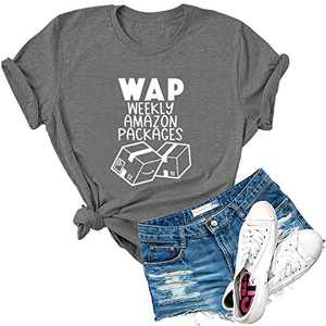 Dauocie Womens WAP Weekly Amazon Packages Letter Print Short Sleeve T Shirt Funny Casual Boxes Graphic Tees Tops Dark Grey