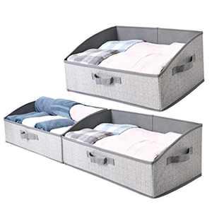 Sami Time Decorative Trapezoid Storage Bin Boxes for Shelves(19.7 x 11.2 x 8.3''),Fabric Closet Organizer Shelf Box Bins with Handle,Home Office Storage Baskets, 3-Pack