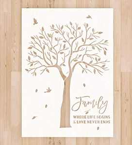 """Stencil for Painting on Wood Wall - A4 Size 8.3""""x11.7"""" Reusable Mylar Drawing Stencil Template for Wood Signs, DIY Home Decor and Art Craft Drawing, Family Tree Stencil"""