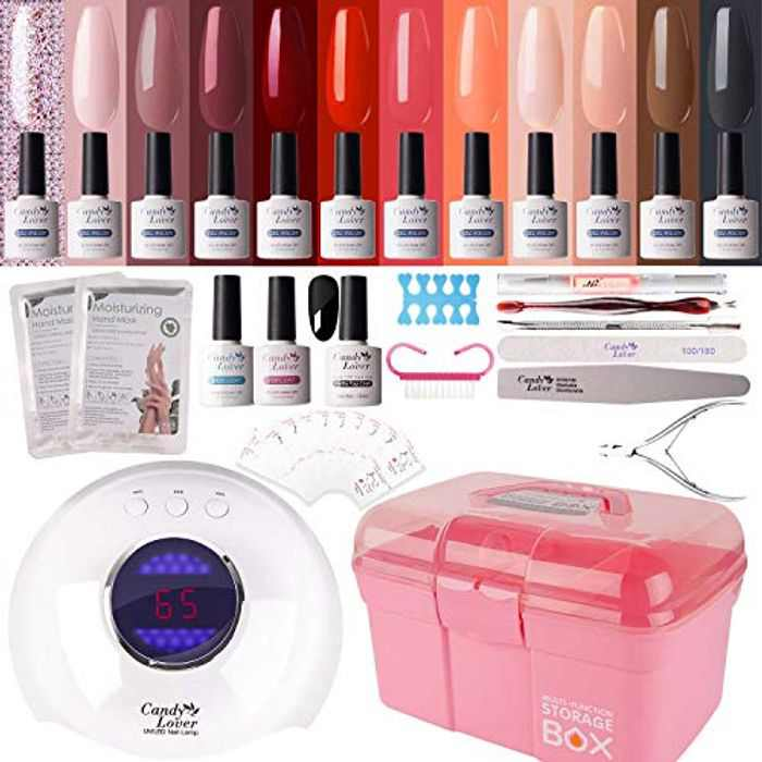 Gel Nail Polish Kit with 24W Lamp - Candy Lover 10ml Winter Nude Colours with Base Top Coat Matte Top UV/LED Nail Gel Polish Set, Autumn Nail Art Accessories Free Storage Box Starter Set 001