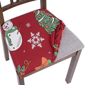 SearchI Christmas Chair Seat Covers, Stretch Jacquard Spandex Dining Room Chair Seat Covers, Removable Washable Anti-Dust Xmas Chair Seat Covers for Dining Room, Kitchen, Office (red-Christmas, 4)