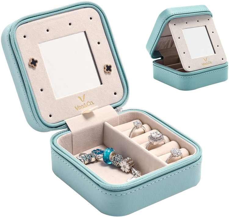 Vee Travel Jewellery Box,Mini Travel Jewelry Storage Case,Small Portable Jewelry Box for Rings,Earrings,Necklace,Jewellery Organiser with Mirror for Girls Women,Gift Boxes for Jewellery(Blue)