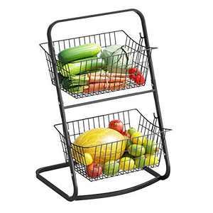 2 Tier Market Basket,Storage Basket Organizer, Fruit Vegetable Produce Metal Hanging Storage Bin for Kitchen,Bathroom Tower Baskets,Antique Black (2 tier market basket)