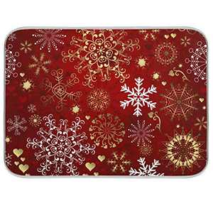 Christmas Snowflake Dish Drying Mat 16x18 inch Absorbent Reversible Microfiber Mat Dish Dry Pad Protector for Kitchen