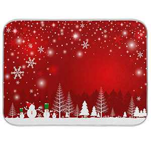 Christmas Tree Snowman Dish Drying Mat 16x18 inch Absorbent Reversible Microfiber Mat Dish Dry Pad Protector for Kitchen