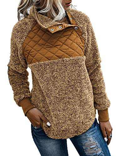 kaimimei Fleece Pullover Sweatshirt for Women- Oblique Button Neck Coat+ Turtleneck Long Sleeve Outwear with Pockets Brown