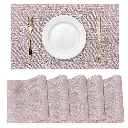 Placemats, Set of 6 Heat-Resistant Placemats, Placemats for Dining Table, Washable Table Mats,Kitchen Table mats, Durable PVC Table Mats Woven Vinyl Placemats(Pale Pink)