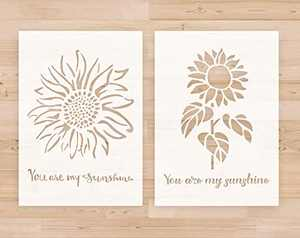 """Stencils for Painting on Wood Reusable - A4 Size 8.3""""x11.7"""" You are My Sunshine Reusable Stencil Template for Wood Signs, DIY Home Decoration and Art Craft Drawing, Sunflower Stencils 2pcs Set"""