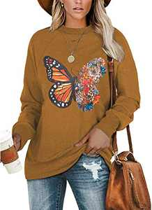 Angerella Women's Ladies New Butterfly Printed Crewneck Long Sleeve Tops Casual Graphic Sweatshirt Tops Loose Blouse Shirts Brown Medium