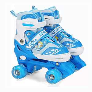 Kids Roller Skates for Boys Girls Adjustable 4 Size with Light up Wheels Great for Beginner Children Small Size (12-2) Blue