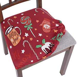 SearchI Christmas Chair Seat Covers, Stretch Jacquard Spandex Dining Room Chair Seat Covers, Removable Washable Anti-Dust Xmas Chair Seat Covers for Dining Room, Kitchen, Office (red-Candy, 6)