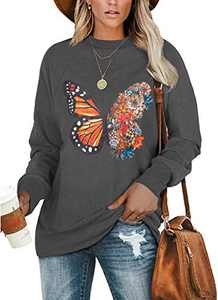 Angerella Women's AutumnButterfly Printed Long Sleeve Sweatshirt Round Neck Casual Loose Pullover Tops Shirts Grey XX-Large