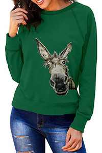 Angerella Women's Ladies Animal Printed Round Neck Long Sleeve Graphic Cute Pullover Funny Sweatshirts Green Large