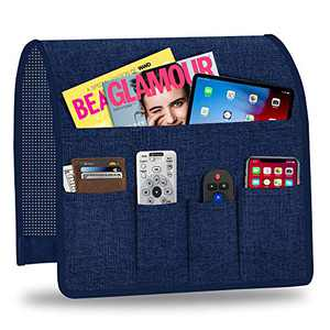 Naturoom Arm Chair Organizer, Armchair Caddy for Recliner Non-Slip Couch Caddy with 5 Pockets Arm Chair Caddy for Smart Phone, Book, Magazines, Ipad, TV Remote Control Holder(Navy,13'' x 35'')