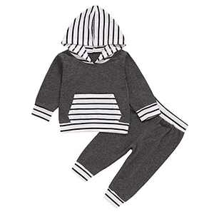 Newborn Baby boy Winter Onesie Clothes Pants Tops Outfits Gifts for Infant Boys Gray White
