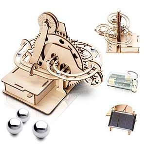 Marble Run 3D Wooden Puzzle for Adults and Teens,DIY Model Kit,Educational Jigsaw Puzzles Building Toys, STEM Projects Science Experiments Runs on Solar, Birthday Gift for Women/Kids Ages 8-10-12-14