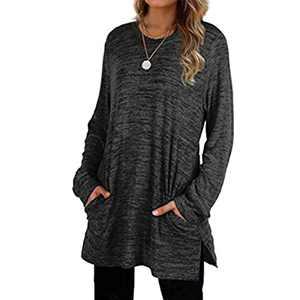 Womens Basic Colors Sweatshirts Long Sleeve Shirts Oversized with Pocket Tunic Tops S-2XL (Black, Small)