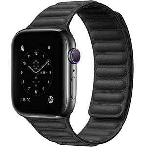 Jakpas Leather Link Band Compatible with Apple Watch Band 42mm 44mm, Compatible for iWatch Series SE 6 5 4 3 2 1, Black