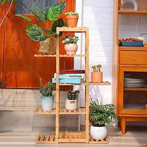 BLUU Bamboo Plant Stand 5 Tier 10 Potted Indoor Outdoor Multiple Flower Pots Organizer Rack Planter Display Shelf Holder for Patio Garden Corner Balcony Living Room