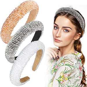 3 Pieces Padded Rhinestone Headband Crystal Beaded Headband Wide Glitter Crystal Beaded Hairband Padded Wedding Headpiece Wide Edge Headwear for Women Girls (Grey, White, Champagne Gold)