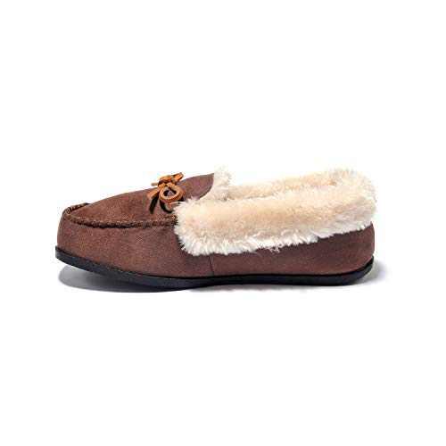 Breifola C012, Women's Indoor Winter Warm Slippers, Suede + Rabbit Fur, Brown, Black, Wine Red, Apricot, Dark Gray (Brown/c012-1, 11)