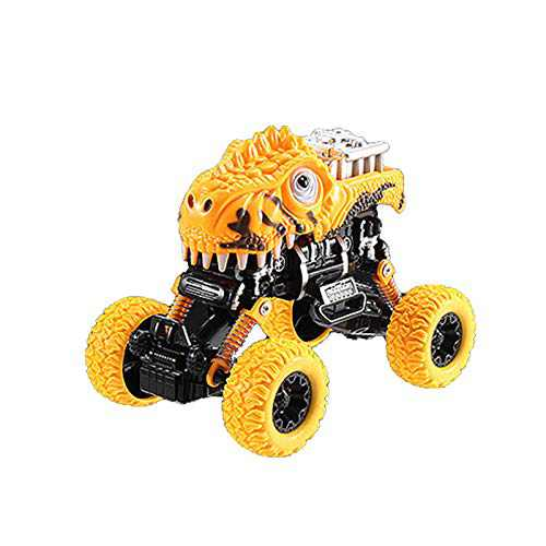 Four-Wheel Drive Bigfoot Dinosaur Pull Back Car Large Off-Road Toy Car Model (Yellow)