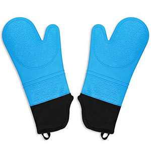 Seniny Heat Resistant Silicone Oven Mitts, Extra Long Flexible Oven Gloves with Professional Quilted Liner, Non-Slip Textured Pot Holders Suitable for Kitchen, Baking, BBQ, 1 Pair 15.2 Inch