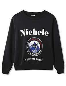 Sykooria Crewneck Sweatshirt for Men Women,Vintage Pullover Lightweight Couple Sweat Shirt Black