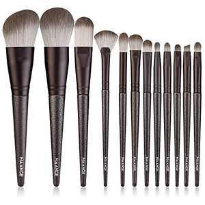 MAANGE Make up Brushes,12 Pcs Professional Premium Synthetic Makeup Brushes Set,Travel Foundation Powder Eyebrow Concealer Kabuki Makeup Brush Set Kit (Black)