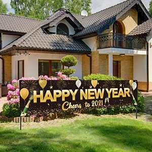 Happy New Year 2021 Banner, Large Fabric Black Gold Happy New Year Sign Banner Backdrop Cheer to 2021 Banner for New Years Eve Celebrations Party Photography Supplies, 71 x 15.7 Inches