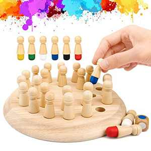 Wowok Memory Matchstick Chess Game, Wooden Color Memory Chess Game for Children, Adults, Seniors, Family Party Casual Brain Teaser Game